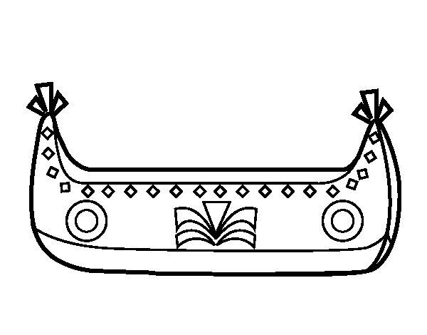 Desenho de Barco indiano para Colorir