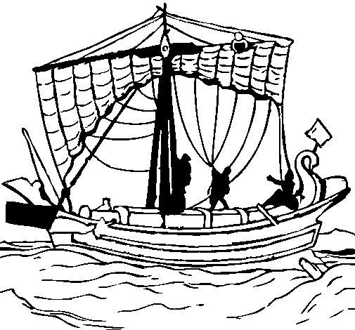 Desenho de Barco romano para Colorir