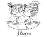 Desenho de Beijo em um barco para colorear