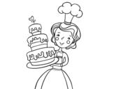 Desenho de Bolo de aniversário caseiro para colorear