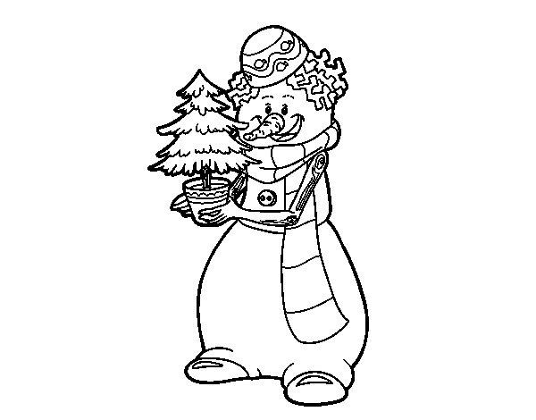 Desenho De Boneco De Neve Com árvore De Natal Para Colorir