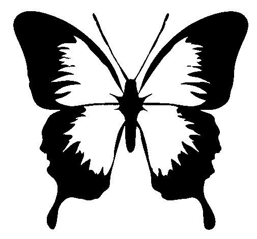 Desenho de Borboleta com asas negras para Colorir