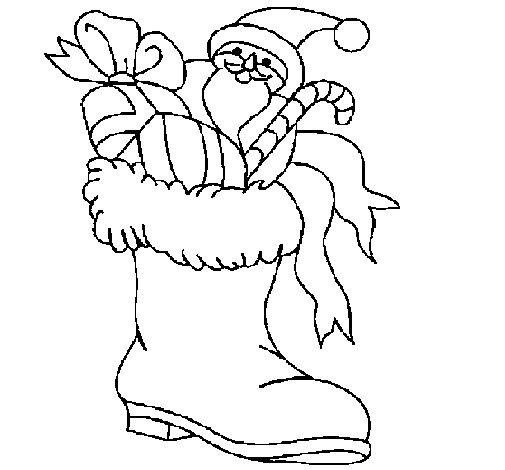 Desenho de Bota para os presentes para Colorir