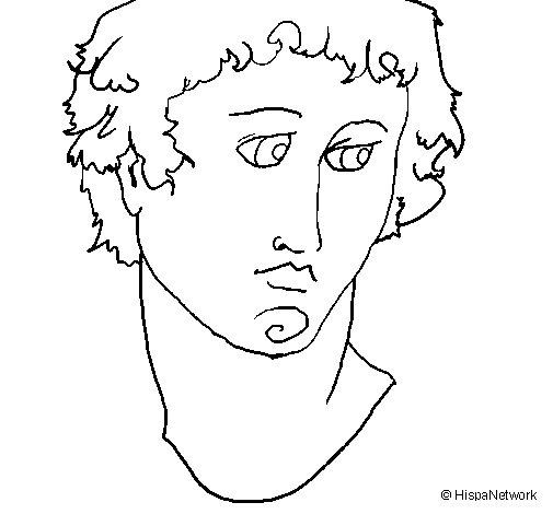 Desenho de Busto de Alexandro Magno para Colorir