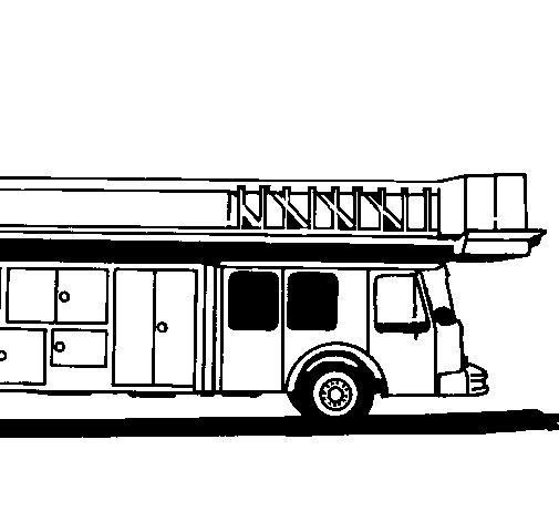 Desenho de Camião de bombeiros com escada para Colorir