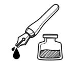 Desenho de Caneta de tinta permanente e tinteiro para colorear