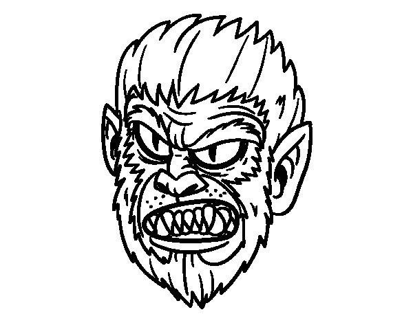 Desenho de Cara de Homem lobo para Colorir