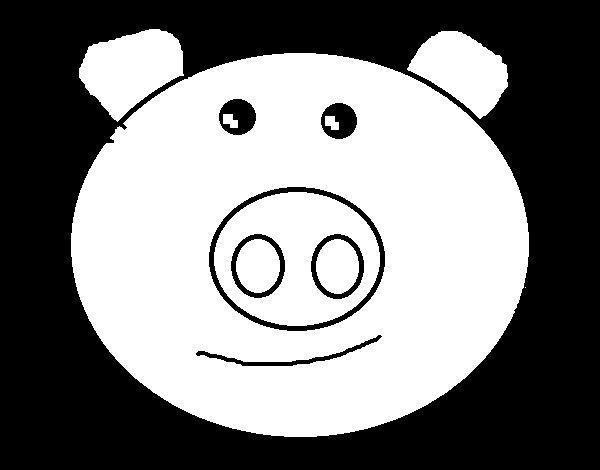 Desenho de Cara de porco para Colorir
