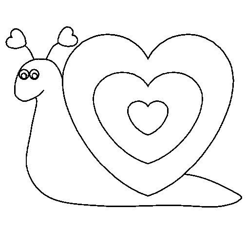 Desenho de Caracol coração  para Colorir