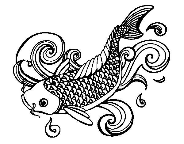 Desenho de Carpa chinesa para Colorir