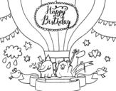 Desenho de Cartão de feliz aniversário para colorear