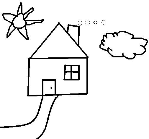 Desenho de casa para colorir - Para pintar casas ...