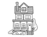 Dibujo de Casa de dois andares com sótão