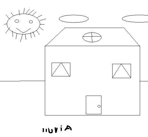 Desenho de Casa e da chuva para Colorir