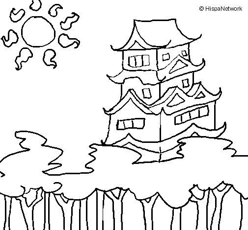 Desenho de Casa japonesa para Colorir
