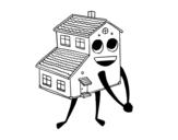 Desenho de Casa sorrindo para colorear