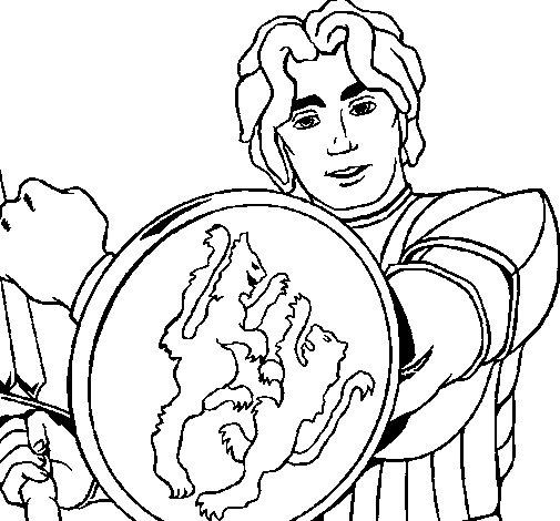 Desenho de Cavaleiro com escudo de leão para Colorir