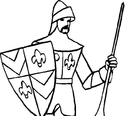Desenho de cavaleiro da corte para colorir - Dessin cavaliere ...