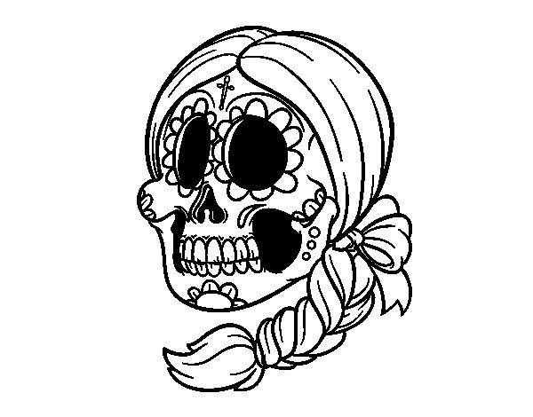 Desenho De Caveira Mexicana Com Trança Para Colorir
