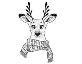 Desenho de Cervos com lenço para colorear