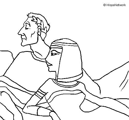 Desenho de César e Cleopatra para Colorir