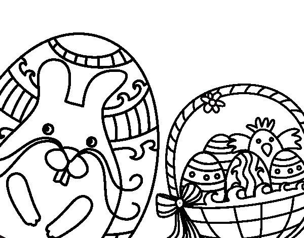 Desenho de Cesta com ovos de Páscoa para Colorir