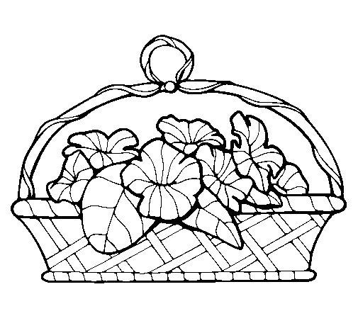 Desenho de Cesta de flores 5 para Colorir