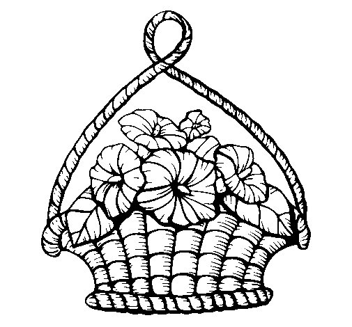 Desenho de Cesta de flores para Colorir