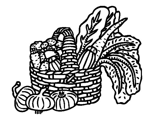 Desenho de Cesta de legumes para Colorir