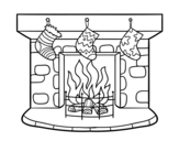 Desenho de Chaminé de Natal para colorear