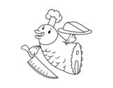 Dibujo de Chef Peixe