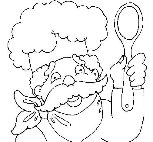 Desenho de Chefe com bigode para Colorir