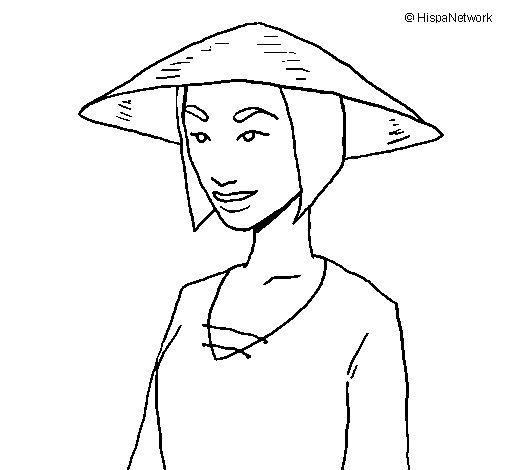 Desenho de Chinesa para Colorir