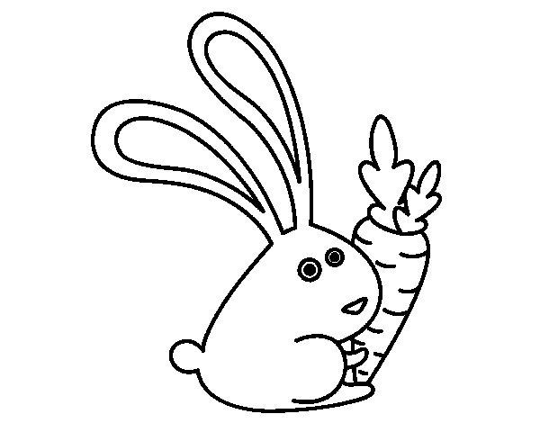 Desenho de Coelho com cenoura para Colorir