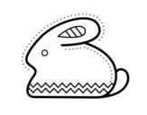 Desenho de Coelho da Páscoa laterais para colorear