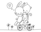 Desenho de Coelho e Gato amantes para colorear