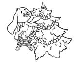 Dibujo de Coelho que decora a árvore de Natal
