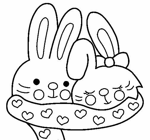 Desenho de Coelhos apaixonados para Colorir
