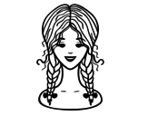Desenho de Com duas tranças penteado para colorear