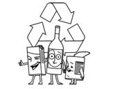 Desenho de Contentores de reciclagem para colorear