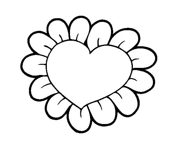 Colorir Imagens Coração Para Colorir: Desenho De Coração Flor Para Colorir