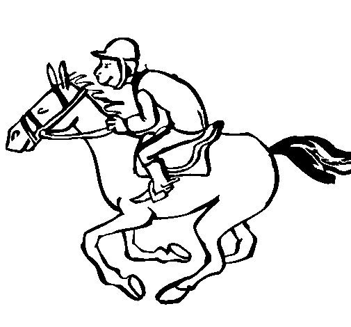 Desenho de Corrida de cavalos para Colorir