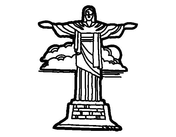 Desenho de Cristo Redentor para Colorir