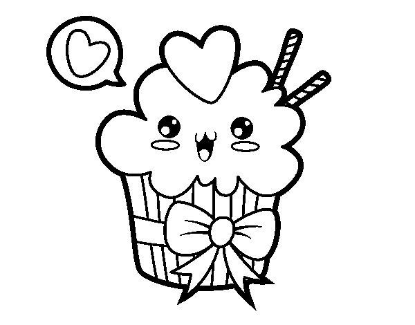 Desenhos Kawaii Para Colorir: Desenho De Cupcake Kawaii Com Laço Para Colorir