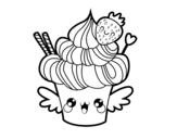 Desenho de Cupcake kawaii com morango para colorear