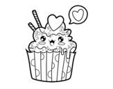 Desenho de Cupcake kawaii para colorear