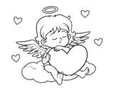 Desenho de Cupido com coração para colorear