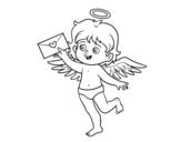 Desenho de Cupido com letra de amor para colorear