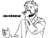 Desenho de David Bisbal cantando para colorear