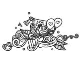 Desenho de  Decoração do casamento para colorear